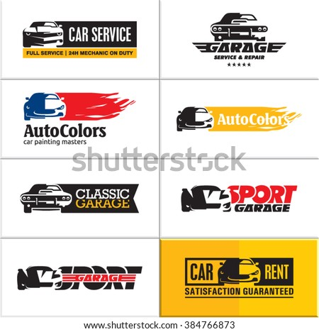 car logos, car icons, car service, vector car garage sign, sports car