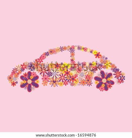Car made from flowers on a pink background. - stock vector
