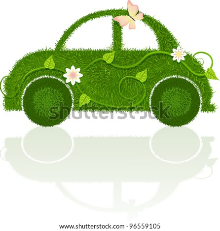 Car, made of grass with leaves, flowers and butterfly