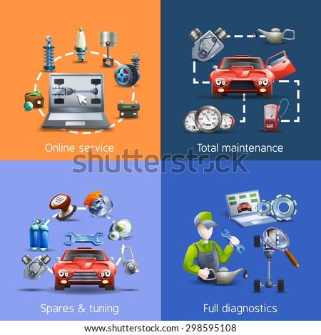 Car maintenance and service cartoon icons set with spares and diagnostics isolated vector illustration