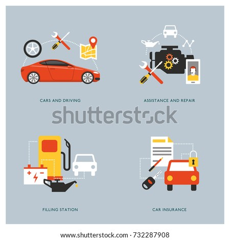 Car maintenance, insurance, repair and servicing concepts with icons