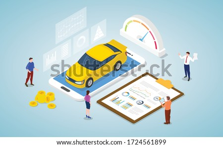 car market analysis concept with some graph and chart data report with modern isometric style