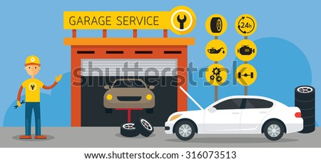 Car, Mechanic and Garage Service Icons and Illustration, Flat Design, Panorama, Automobile Maintenance