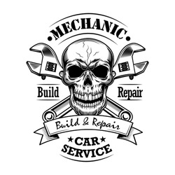 Car mechanic vector illustration. Monochrome skull, crossed wrenches build and repair text. Car service or garage concept for emblems or labels templates