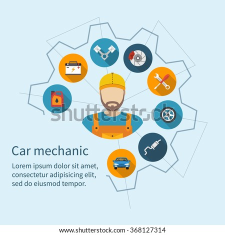 Car mechanic with flat icons tools and spare parts, concept. Repair machines, equipment. Car service concept. Vector illustration flat style. Auto mechanic icon.