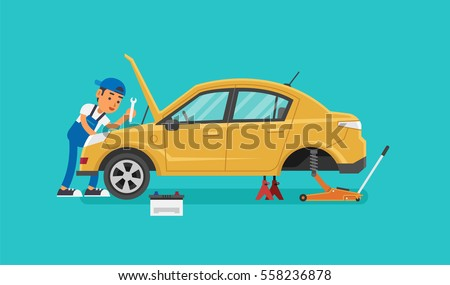 Car Mechanic Working In Auto Repair Service. Vector illustration