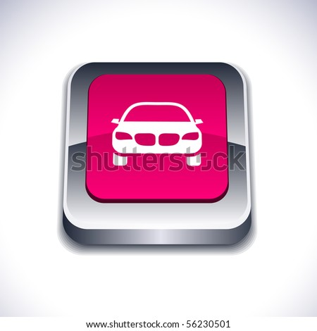 Car metallic 3d vibrant square icon.