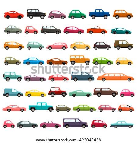 car models icon set