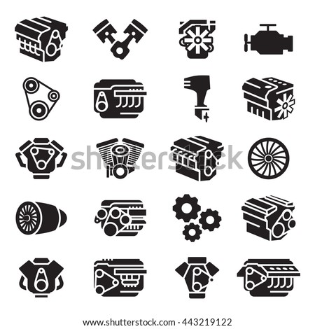Car motorcycle aircraft and boat engines,icon and symbol