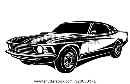 car muscle old 70s vector