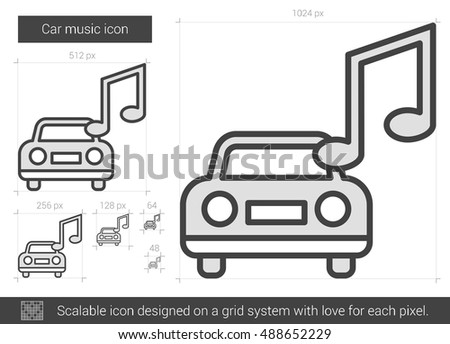 car music vector line icon