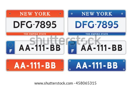 car number plates license set