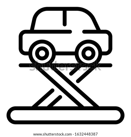 Car on a lift icon. Outline car on a lift vector icon for web design isolated on white background