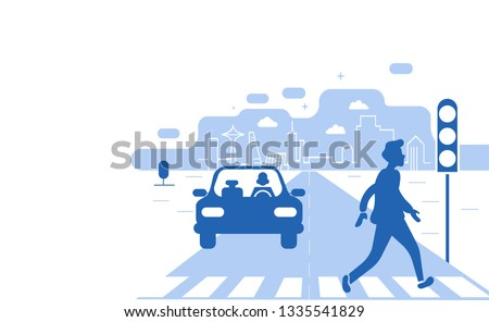 Car on crosswalk and pedestrian.Hands driving a car on the highway. Drive safely warning billboard.Flat vector illustration.Asphalt road with speed limit on highway car interior.Driving school