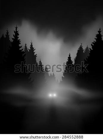 car on dark road at night
