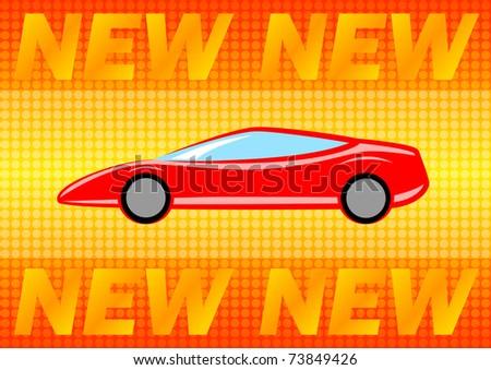 Car on orange background