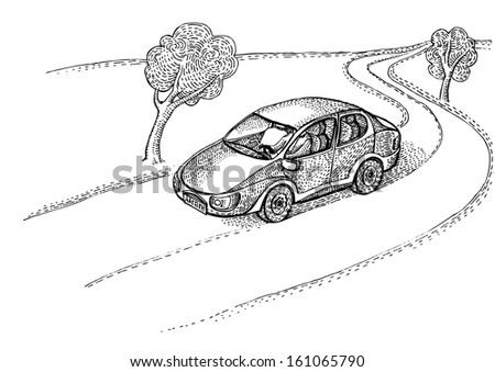 Car on the village road