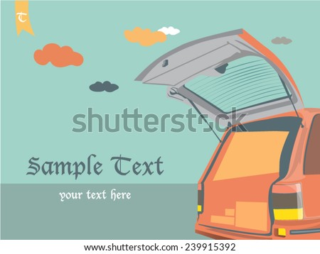 car open door on sky background