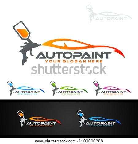 car painting logo with spray gun and Unique Colorful Vehicle Concept