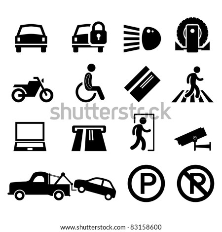 Car Park Parking Area Sign Symbol Pictogram Icon Reminder - stock vector