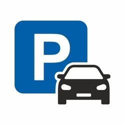 Car parking icon. Parking space. Parking lot. Car park. Vector icon isolated on white background.