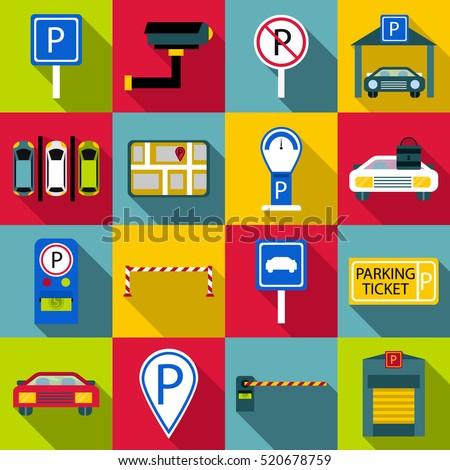 car parking icons set flat