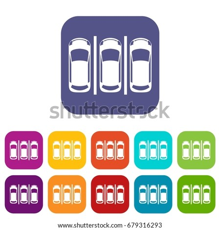 Car parking icons set vector illustration in flat style In colors red, blue, green and other