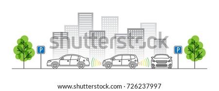 Car parking sensor vector illustration. Autonomous car technology line art concept. Smart parking assist system graphic design. Intelligent sensors scan free space to park transport vehicle.