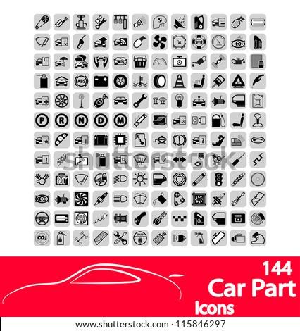 Car part icons set. Vector Illustration.
