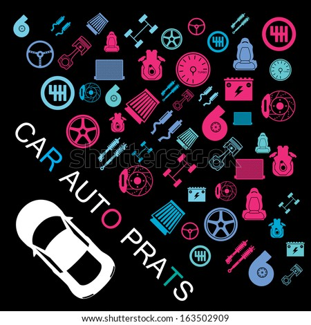 car parts list with pictures car part item stock vector illustration 163502909 11968