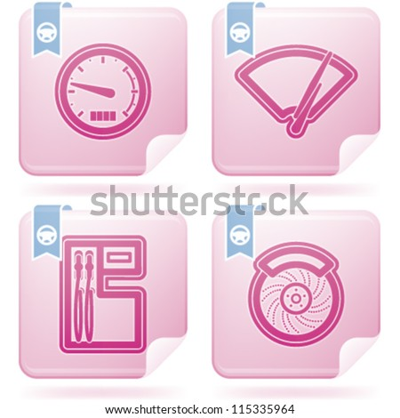 Car parts and accessories, from left to right: Speedometer, Fuel indicator, Fuel pump, Disk brake.
