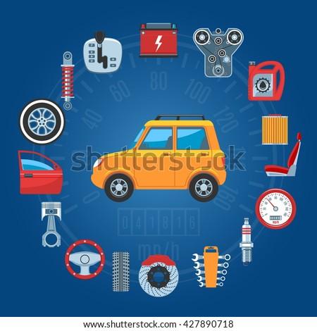 Car Parts Concept Icons Set. Vector illustration