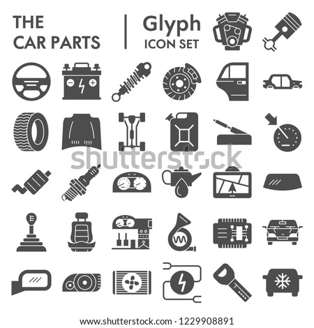 Car parts glyph icon set, automobile symbols collection, vector sketches, logo illustrations, vehicle signs solid pictograms package isolated on white background, eps 10