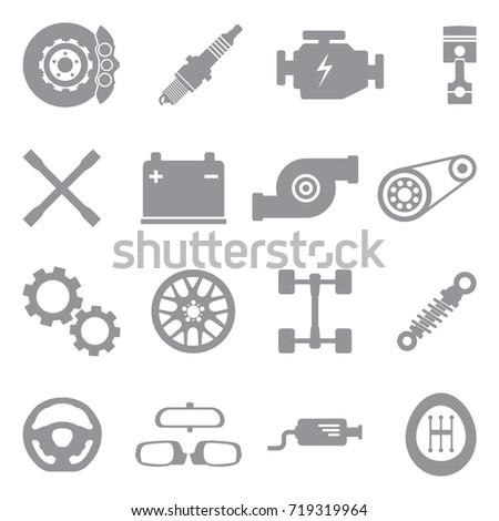 Car Parts Icons. Gray Flat Design. Vector Illustration.