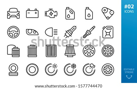 Car parts icons set. Set of engine, motor oil, oil can, air filters, oil filters, winter tires, allow wheels, summer tyres, car light, headlight, head lamp, spark plug, steering wheel isolated icons