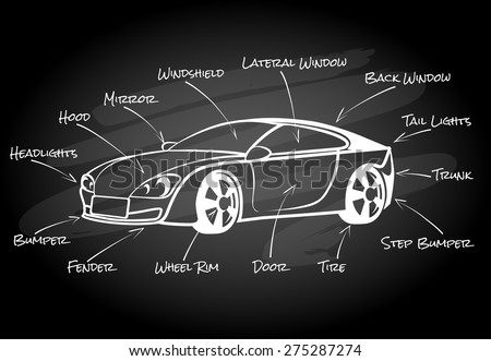 car parts infographic element