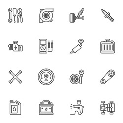 Car parts line icons set, outline vector symbol collection, automotive repair linear style pictogram pack. Signs, logo illustration. Set includes icons as spark plug, engine, battery, vehicle exhaust