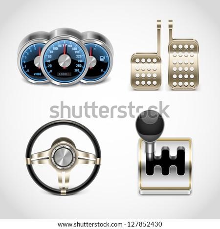 car parts vector icons set 2
