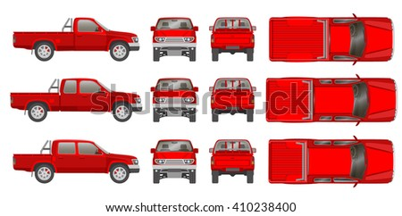Car pickup truck cabine types all view, top, side, back, front