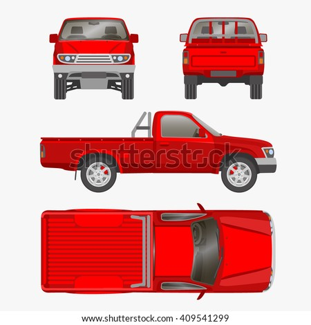 car Pickup truck one cab vector illustration blueprint