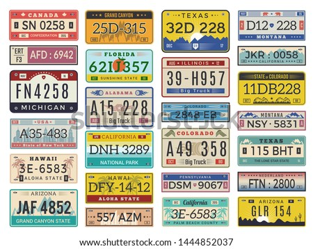 Car plates. Highway automobile license numbers old retro style vector signs collection. Illustration of auto plate, automobile number car