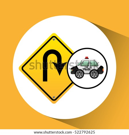 car police with u turn road