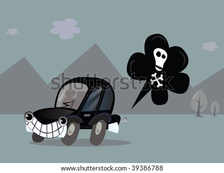 Car Pollution. Help our Environment! Vector Illustration in vintage style.