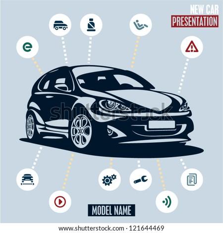 Car presentation. Main car icons set.