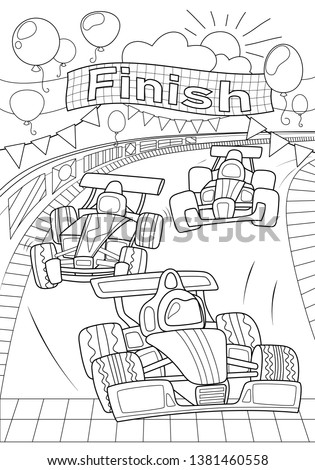 Car race coloring page. Formula 1 black line vector illustration on white background. Speed car on finish. Racing children coloring book. Auto sport coloring for boys. Transport outlined drawing