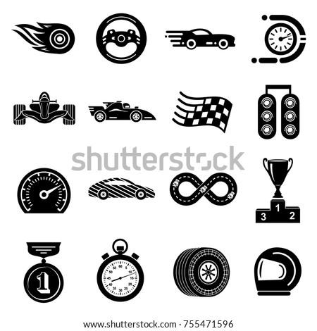car race icons set simple