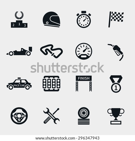 car race icons set stopwatch
