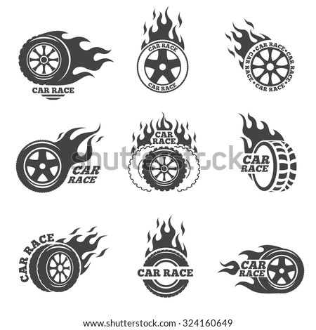 car race logo set wheel with