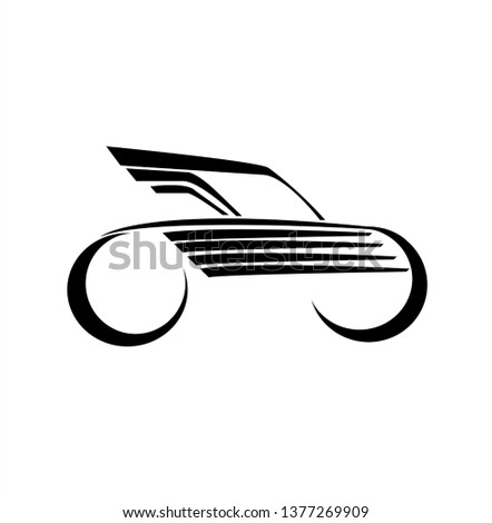 car race logo with fast futuristic rally and horizontal motion of vehicle for racing championship