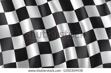 Car race or motorsport rally flag. Vector checkered 3D wavy pattern background of racing sport, bike or motocross competition, championship design